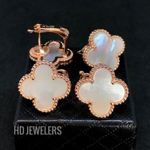 Jewelry - Mother Of Pearl Four Leaf Rose Gold Stud Earrings